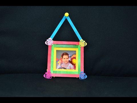 Photo frame art craft ice cream sticks popsicle diy tutorial maker ideas hacks gifts creation wall