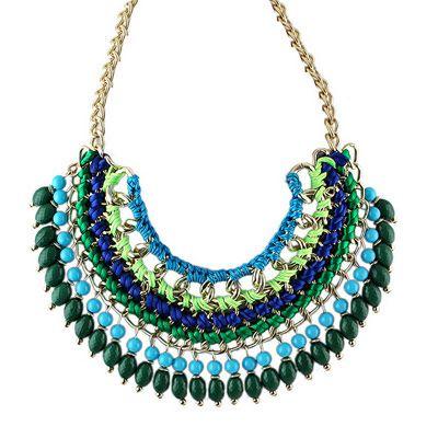 14,90EUR Kette golden mit Perlen blau grün