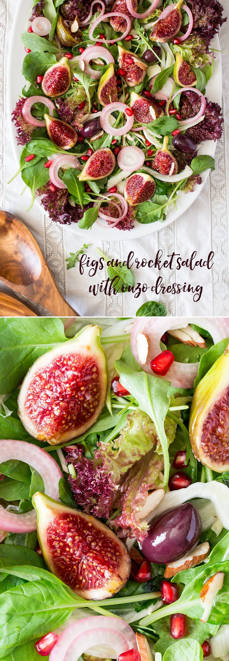 Fig and rocket salad with ouzo dressing