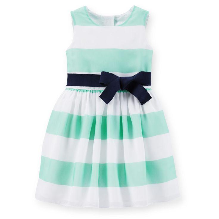 Toddler Girl Crepe Striped Easter Dress   Carters.com