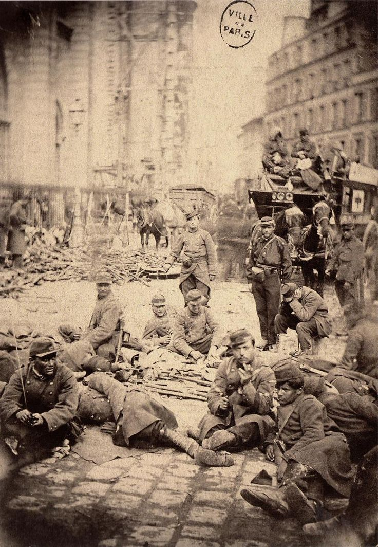 French government soldiers taking a rest from fighting during the Paris Commune, Paris, 1871.