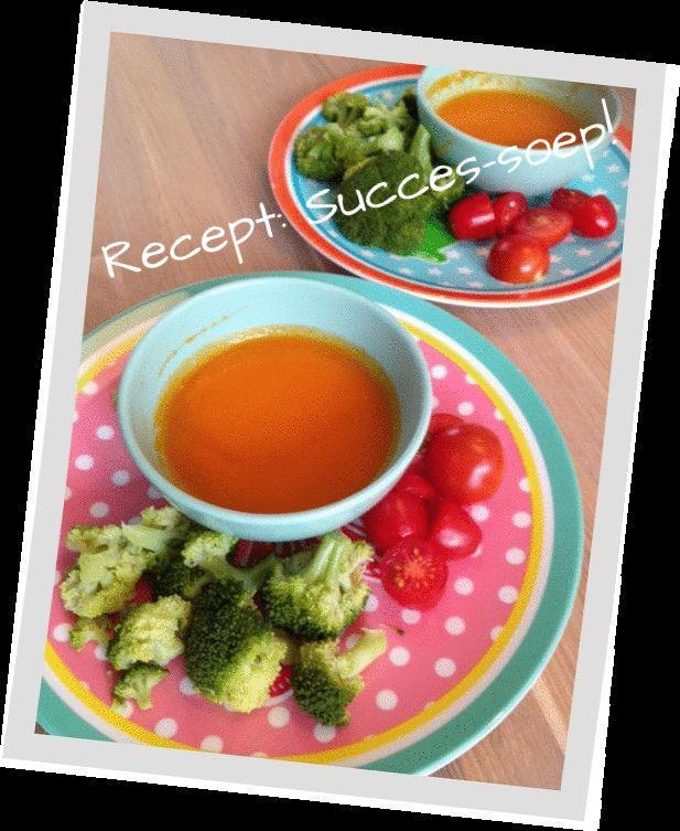 Recept voor een succes soep voor jou kids! Handig om groenten in te verstoppen.