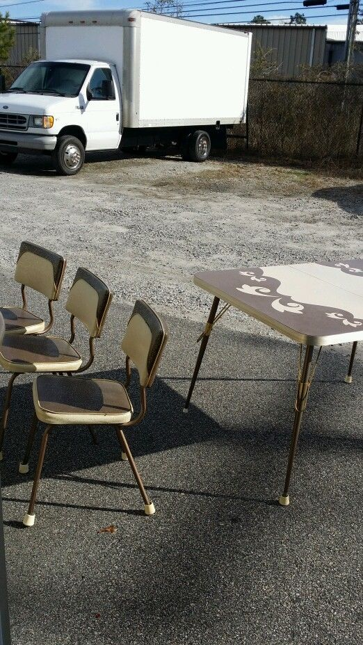 1950s 60s Retro Vintage Coffe ColoredChrome Formica Kitchen Table And 6 Chairs FiftiesRETRO