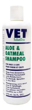 Vet Solutions Aloe & Oatmeal Shampoo - A soothing soap free shampoo with moisturizers for normal, sensitive, or dry skin. Excellent routine shampoo used for general bathing or grooming. Pleasant scent, lathers well & rinses easily.