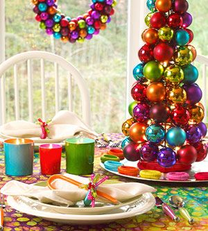 Candy colored christmas ball tree