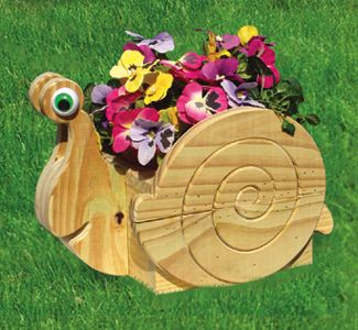 Easy outdoor Projects | snail flower pot planter wood plan super easy outdoor project to make ...