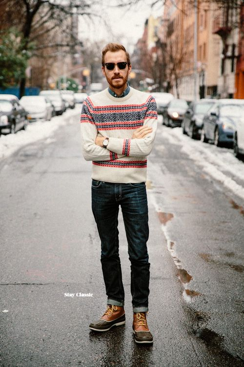 January 24, 2015. Sweater:Winter Fair Isle- GANT by Michael Bastian - $112Shirt:Indigo Japanese Chambray- J. Crew - $88Jeans:Levi's 511in Rigid Dragon- Nordstrom - $50Boots:Sperry Top-Sider Cold Bay- $150 -JackThreadsSunglasses:Ray Ban Clubmaster- $87 (cheaper)Watch:Stillwell in Chocolate- Jack Spade (c/o)
