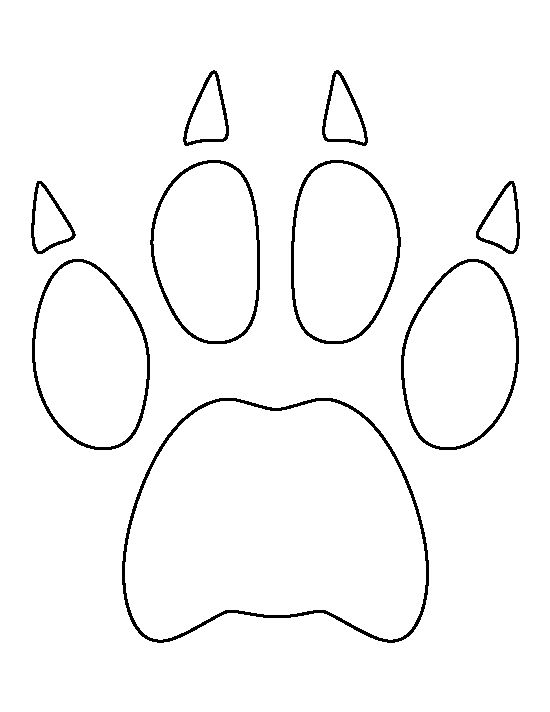 Bobcat paw print pattern use the printable outline for for Tiger paw template