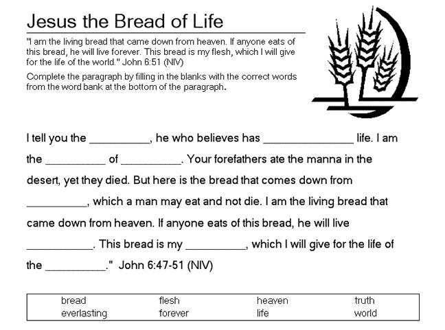 Bread Of Life Fill In The Blank Bible Coloring Pages Life