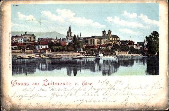 Ansichtskarte / Postkarte Litoměřice Leitmeritz Reg. Aussig, Teilansicht, Elbpartie