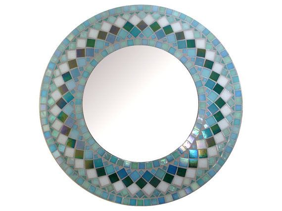 MIRROR MOSAIC round   Wall  Mirror Choose size Teal by SunAndCraft, $119.00