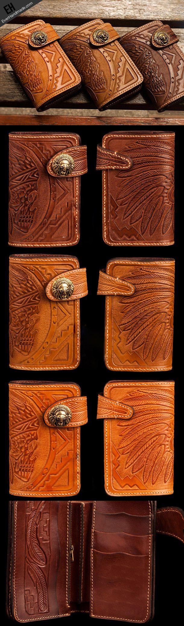 Handmade brown leather indian skull carved biker wallet bifold short w | EverHandmade