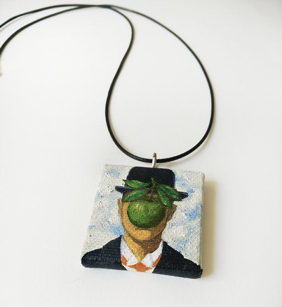 Mini canvas necklace Magritte's apple handpainted by ShaMiLaART