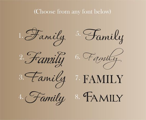 Family word measures 22 wide (height of word will slightly change with font selection - height will range from 8 to 11) Design is available in any of the color choices in our color chart - Please leave color choices in note to seller when purchasing. .  Choose color for Family Choose font (indicate what number font)  This decal can me made in different dimensions. Price may change depending on size. Please feel free to send us a message if interested in different size :)…
