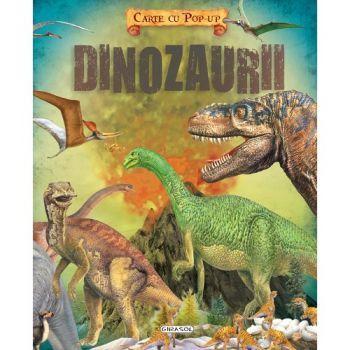 Carte cu Pop-Up - Dinozaurii; Editura Girasol: Varsta 3+; Descopera lumea fantastica a dinozaurilor cu ajutorul imaginilor glisante sau pop-up din aceasta carte amuzanta si educativa.  Cartea descrie: originea, pterozaurii, puii, disparitia. De asemenea, pe fiecare pagina sunt locuri secrete pe care copilul trebuie sa le descopere pentru afla informatii noi.