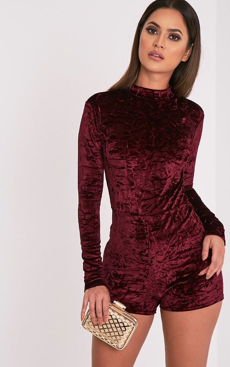 Hailey Berry Crushed Velvet Long Sleeve Playsuit Image 1