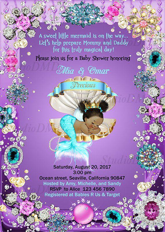 Mermaid Baby Shower Invitation Little Mermaid Invite Under The Sea