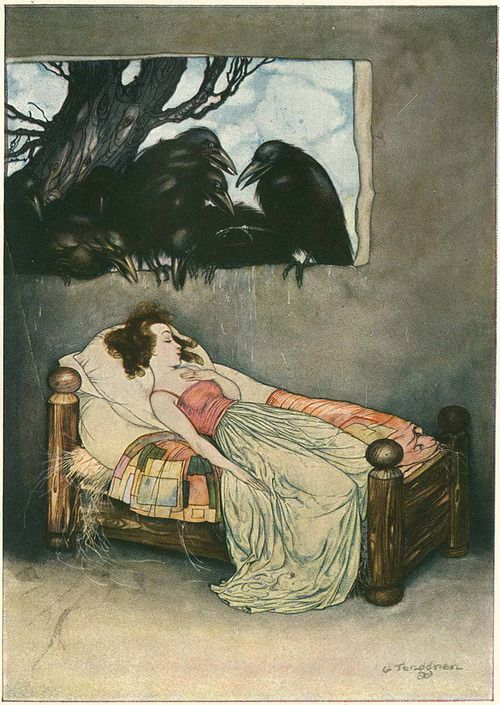 The Seven Crows Illustration by Gustaf Tenggren from Grimm's Fairy Tales, 1923