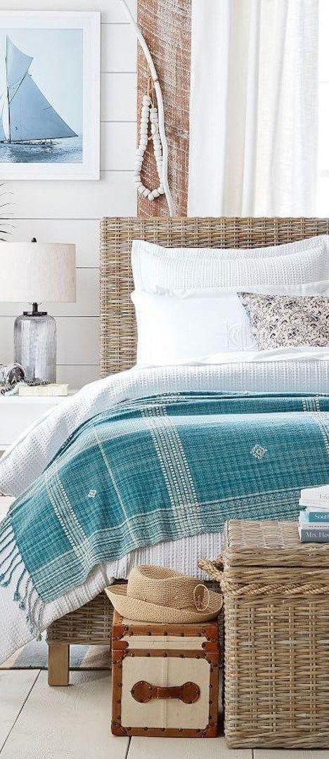 Coastal Bedroom // Coastal Bedroom: Isadora Oversized Throw, Valerie Floral Matelasse Bedding, Santa Ana Trunk