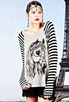 ShopStyle: Heather Lauren Moshi Goldy Royal Horse Striped Raglan Sweater in Grey