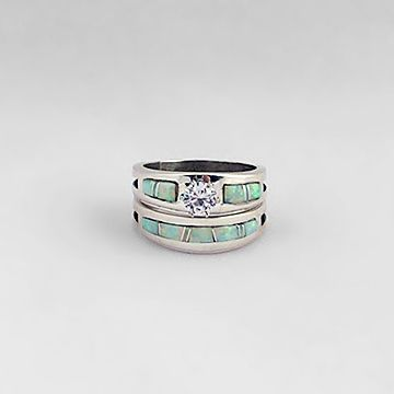 Native American Fire And Ice Opal Sterling Wedding Ring Set WR505