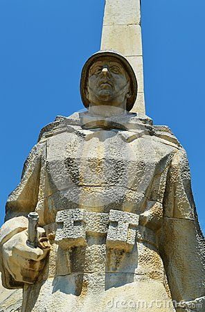 The Romanian soldier monument,in the park, in the city of Baia Mare, next to Sasar river, the capital of Maramures County.