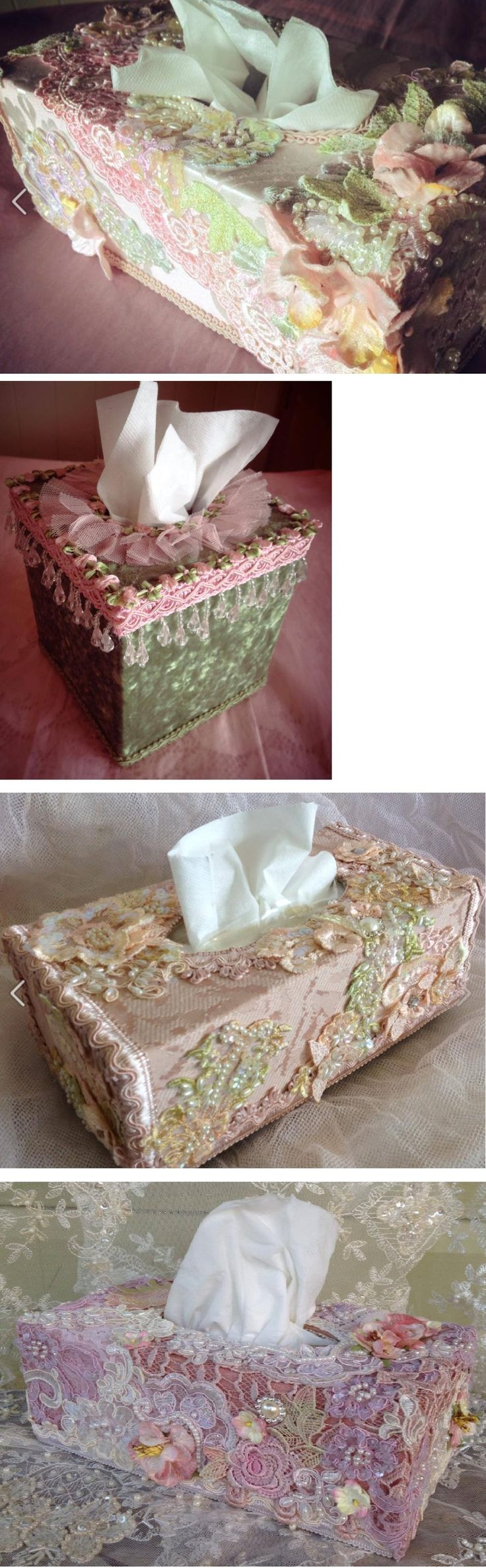 Pretty ideas for embellishing plain tissue box holders - love the combination of laces, beads, trims and flowers! :)