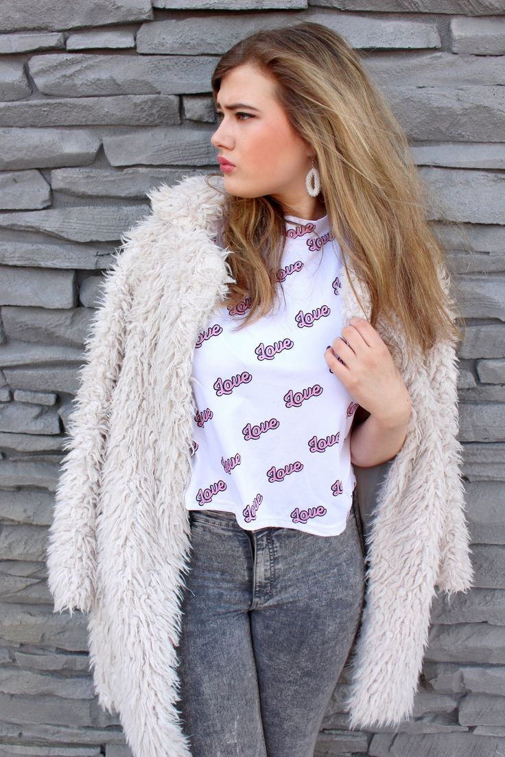 Outfit: Sugar - faux fur coat, love top, kawaii top, harajuku fashion (mandy victoria / mandyvictoria.com)