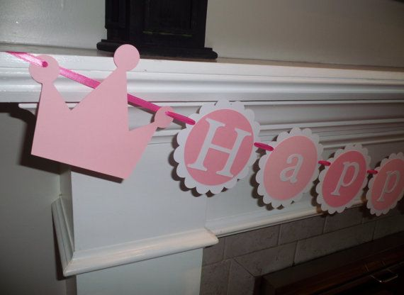 Princess Happy Birthday Banner - Pink, girl birthday, twins, baby shower decorations, paper decoration, party decor, crowns