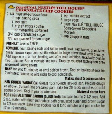 Nestle Chocolate Chip Cookie Recipe