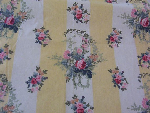 Pair Vintage Laura Ashley Yellow And White Striped Floral