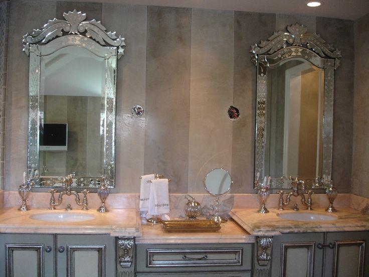 Venitian Mirror Over Bathroom Twin Sinks
