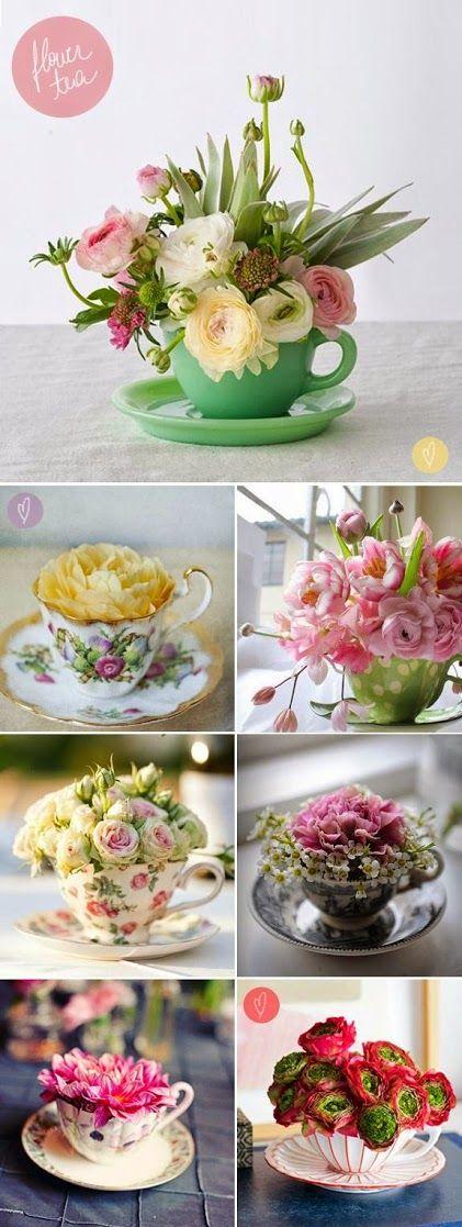 Мини-композиции из цветов в чайных чашках
