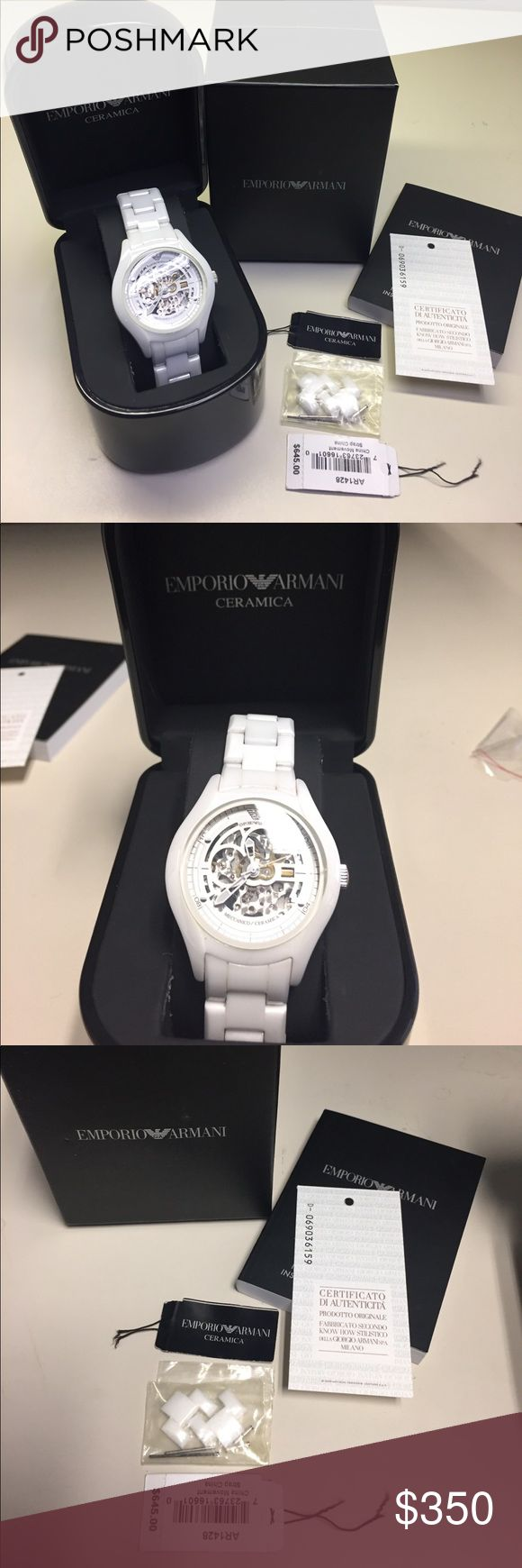 Authentic Emporio Armani ceramics watch. Authentic Emporio Armani Watch ceramic wrist band. White color with open watch movement on back detail. No need for batteries. Automatic movement wind up dial.  Two links were taken out but included with the watch. Emporio Armani Accessories Watches