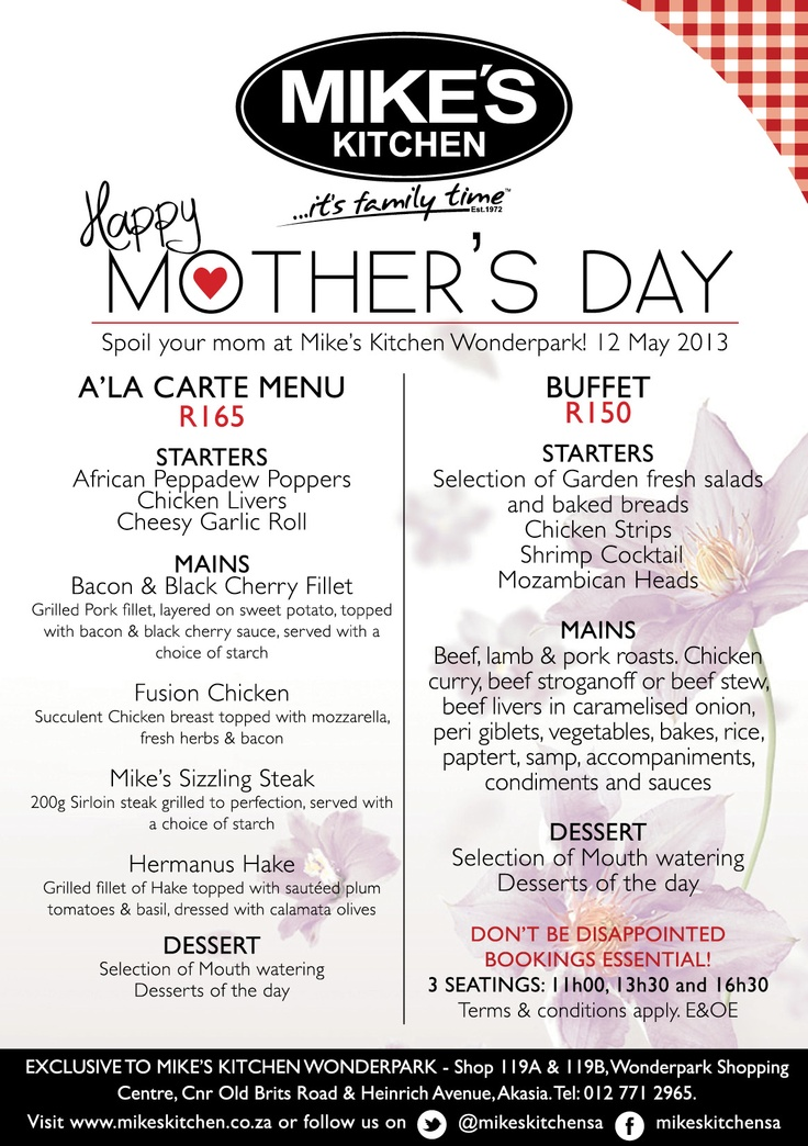Mikes Kitchen Wonderpark invites you to enjoy Mothers Day with them - bookings essential
