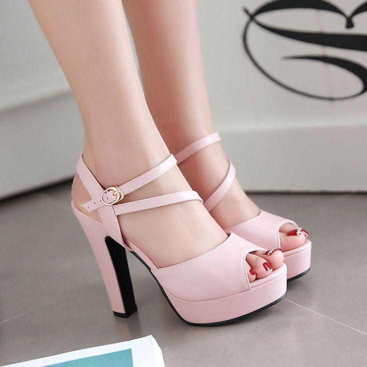 2017 лето женщин высоком каблуке обувь 12cm высокие каблуки женщины шипами леди на платформе туфли открытым носком Дамы Босоножки обуви лодыжки ремень женщина пряжки ремня насосы Черный Синий Розовый белый