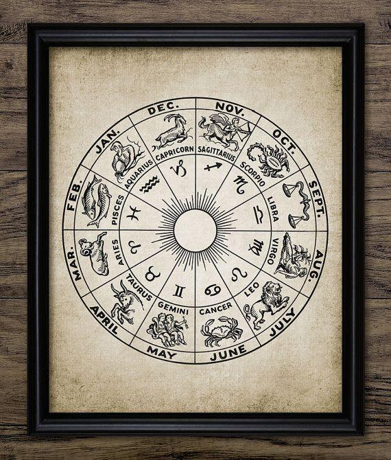 Vintage Zodiac Print Astrology Zodiac Design by InstantGraphics