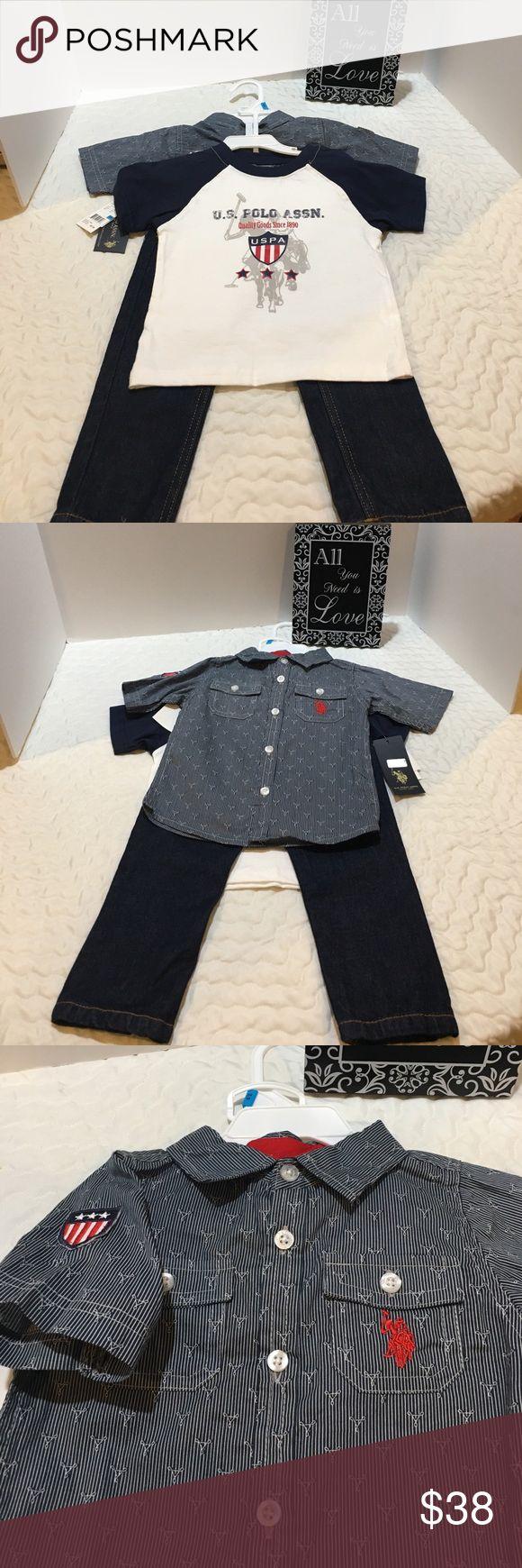 Polo 3 Piece Matching Set Polo 3 Peace matching set. T-shirt,  button up shirt and jeans.  NWT U.S. Polo Assn. Matching Sets