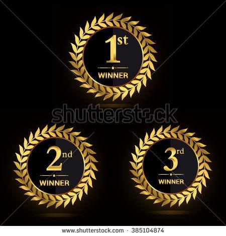 Golden Laurel wreath award sets. First, second and third winner. Award golden label. Vector illustration.