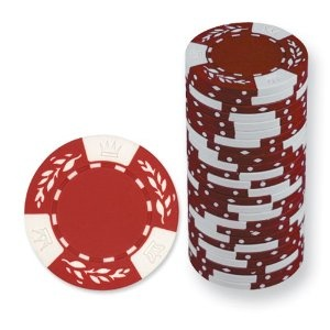 Red Roll of 25 Crown Wheatear Clay Poker Chips --- http://nuff.us/nw