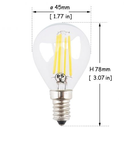 4W G45 E14 LED Filament SES LED Filament Mini Globe Bulb Small Edison Screw E14 LED Antique Clear Golf Ball 40W Incandescent Equivalent: Bonluxled.com