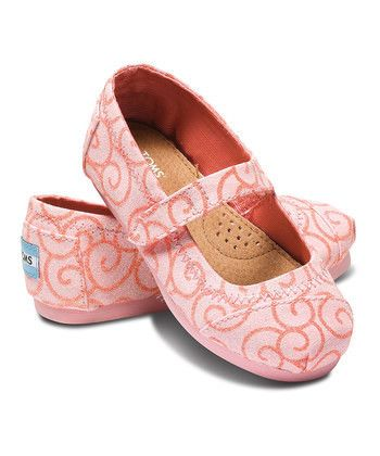 TOMS Tiny Pink Swirl Mary Jane  Cutest little girl sandals !