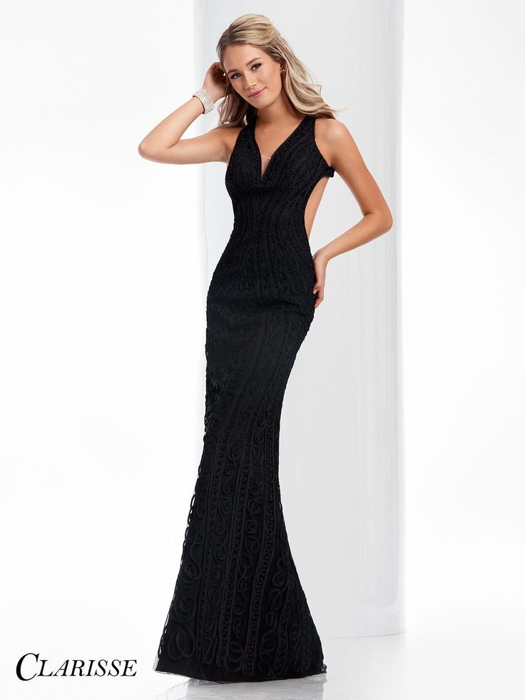 Clarisse Prom Dress 4823. This Clarisse sleeveless, V neckline with sexy illusion cutout, soustache ribbon detail and large back cutout makes this the perfect dress for a prom or gala! Get yours today! http://clarisse.com/locator/index.php