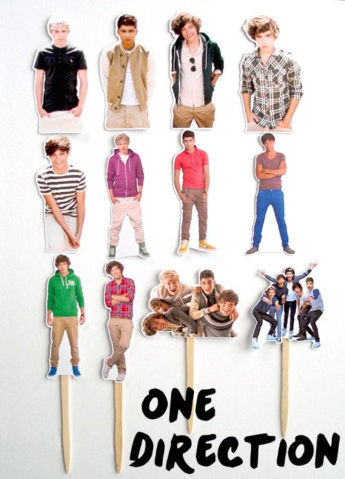 12 One Direction Birthday Party Cupcake Cake Sticker by KidsLoveEm, $8.50