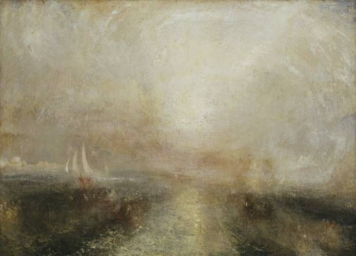 """Yacht Approaching the Coast, c1840-5, Joseph Mallord William Turner, oil on canvas support: 1022 x 1422 mm, London, UK. """"Rothko felt a particular kinship with the British painter J.M.W. Turner, whose later landscapes sometimes verge on the abstract, with recognisable forms dissolving into the evocation of light and space. Tate's collection of Turner was one of the principal reasons for Rothko's generous donation of the Seagram murals..."""""""