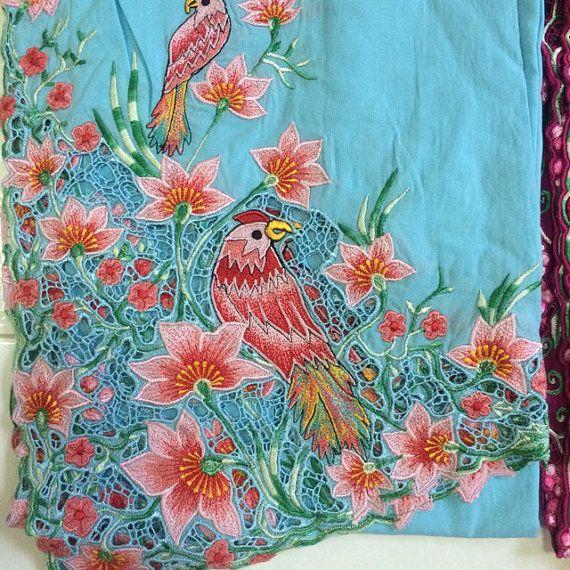 Peranakan Nyonya Kebaya Material. Bird on Sky Blue