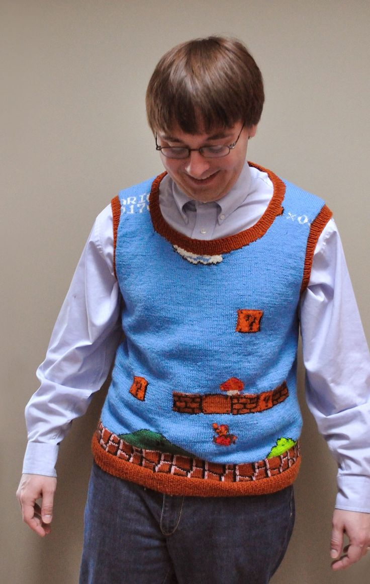 Super Mario vest! If I know anyone nerdy enough for Super Mario AND a sweater vest, please buy me the yarn and I'll make this for you!