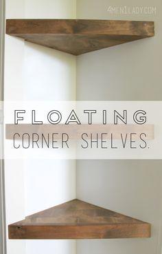 How to make floating corner shelves tutorial. 4men1lady.com