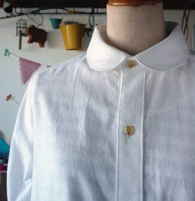 白起毛ダンガリーのシャツワンピース