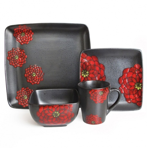 Red And Black Asian Inspired Floral Dinnerware Set